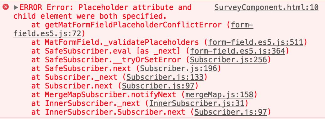 mat-placeholder error